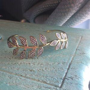 Stella & Dot Rhinestone Leaf Cuff Bracelet